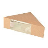 50 Contenitori per sandwiches, carta con finestra in PLA ''PURE'' 12,3 cm x 12,3 cm x 5,2 cm marrone