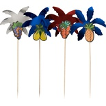 50 Stecchini per party 19,5 cm modello ''Palm Leaf'' colori assortiti