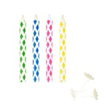 10 Magic candeline con 10 supporti 6 cm colori assortiti