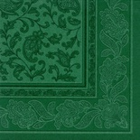 20 Tovaglioli  cm 40x40 ''ROYAL Collection'' piega 1/4 decoro ''Ornaments'' verde scuro
