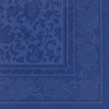 20 Tovaglioli  cm 40x40 ''ROYAL Collection'' piega 1/4 decoro ''Ornaments'' blu scuro